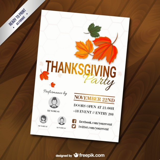 Thanksgiving Party Template Free Vector