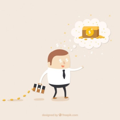 Thinking in Money Illustration Free Vector