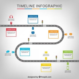 Timeline Infographic with a Road Free Vector
