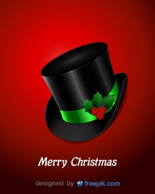 Top Hat with Holly Decoration Free Vector