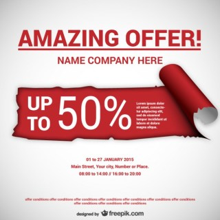 Torn Paper Offer Template Free Vector
