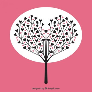 Tree with Hearts Free Vector