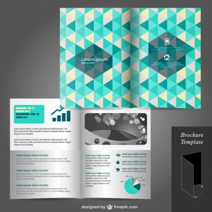 Triangle Cover Brochure Mock-Up Free Vector