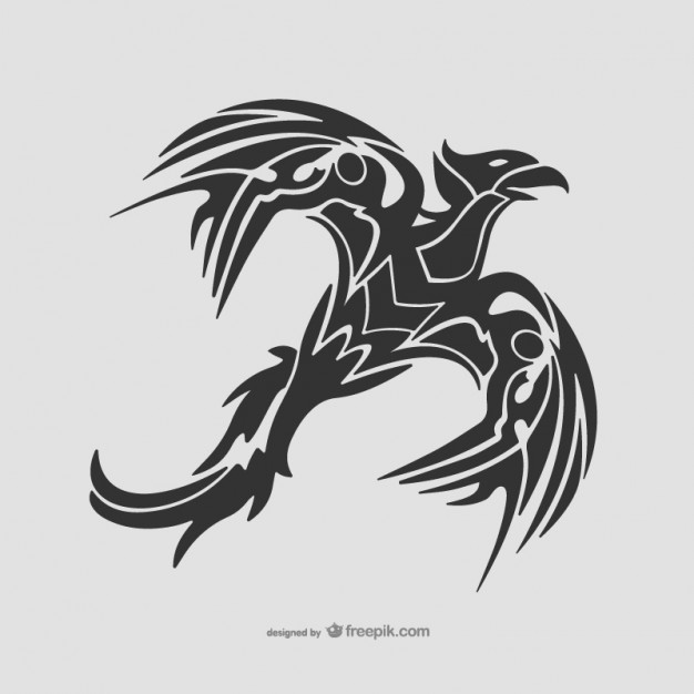 Tribal Bird Flying Tattoo Free Vector