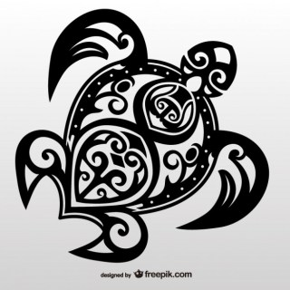 Turtle Tribal Tattoo Free Vector