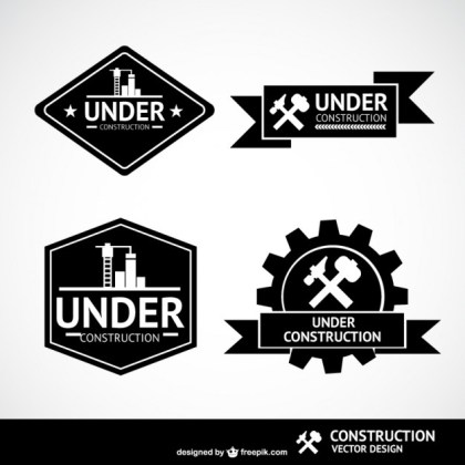 Under Construction Labels Free Vector