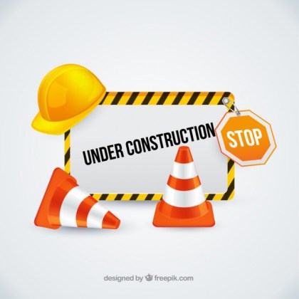 Under Construction Sign with Traffic Cones Free Vector