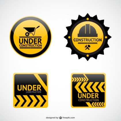 Under Construction Stickers Free Vector