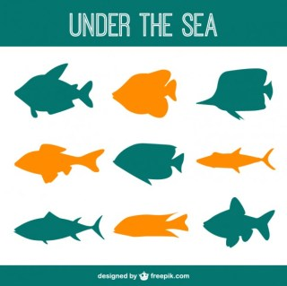 Under The Sea Fishes Silhouettes Free Vector
