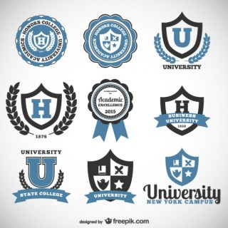 University and College Badges Free Vector