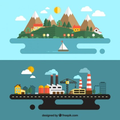 Urban and Rural Landscape Free Vector