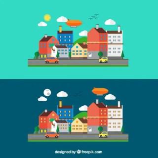 Urban Landscape in Cartoon Style Free Vector