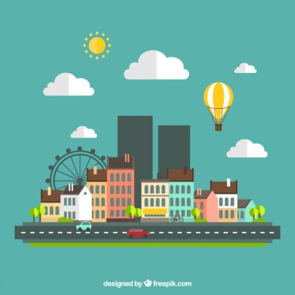 Urban Landscape in Flat Design Free Vector