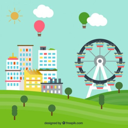 Urban Landscape with a Big Wheel Free Vector