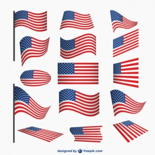 Usa Flags Set Free Vector