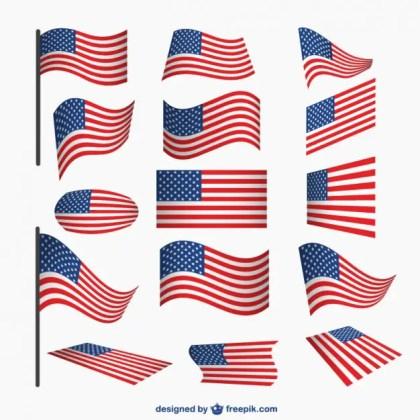 Usa Flags Set Free Vector