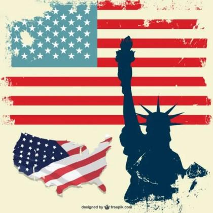 Usa Liberty Statue Flag Set Free Vector