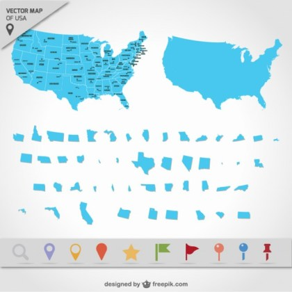 Usa Map States Free Vector