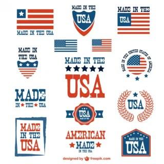 Usa Patriotic Badges Set Free Vector