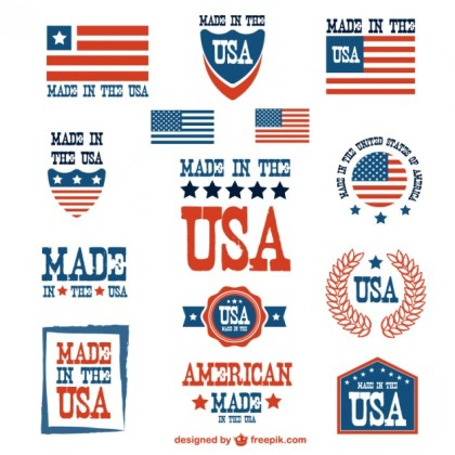 Usa Patriotic Badges Set Free Vector