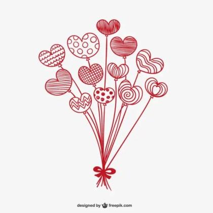 Valentine Balloon Hearts Free Vector
