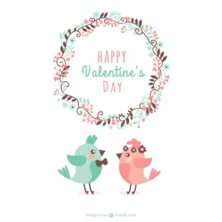 Valentine Birds Greeting Free Vector