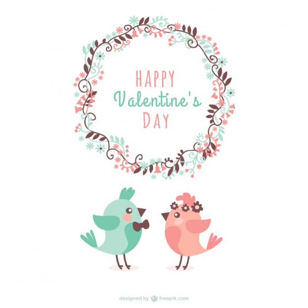 Valentine Birds Greeting Free Vector