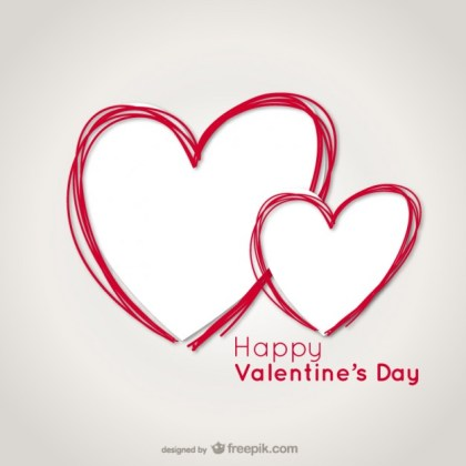 Valentine Card with Heart Scribbles Free Vector