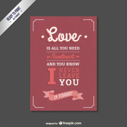 Valentine Card with Lettering Free Vector
