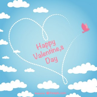 Valentine Card with Sky Free Vector
