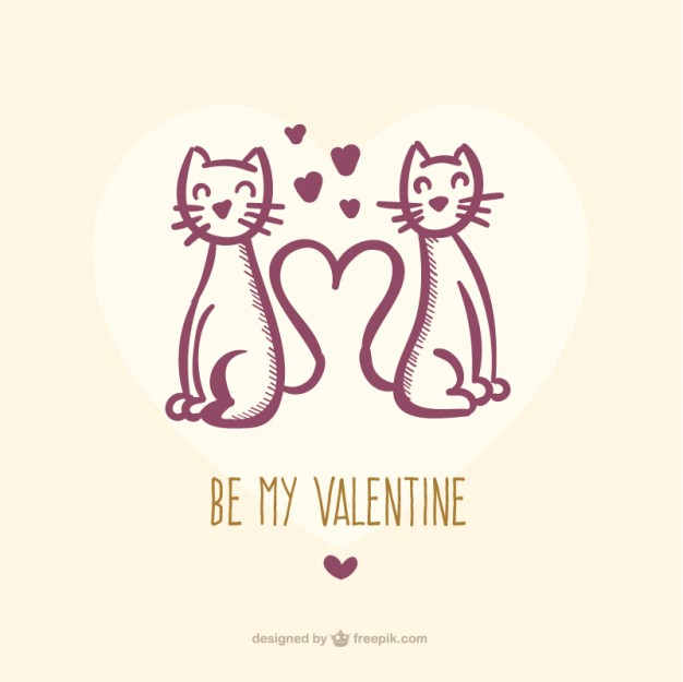 Valentine Cats Free Vector