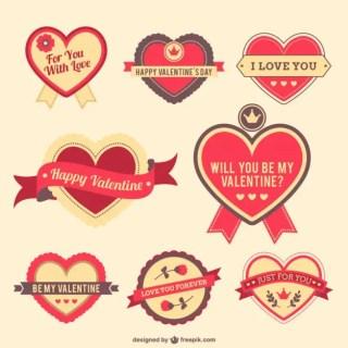 Valentine Hearts Stickers Free Vector