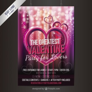 Valentine Party Flyer with Hearts Free Vector