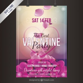 Valentine Party Flyer with Petals Free Vector