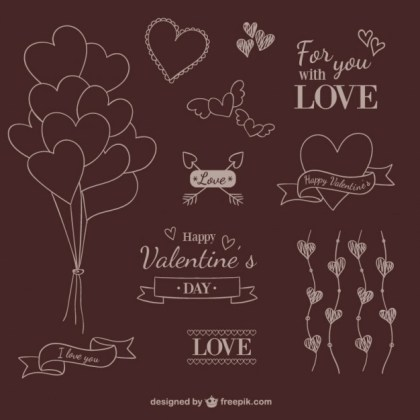 Valentine Scribble Ornaments Free Vector