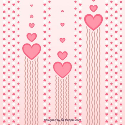 Valentines Background with Hearts Free Vector