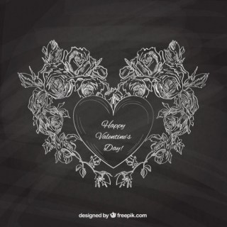 Valentines Card with Blackboard Texture Free Vector