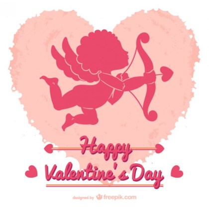 Valentines Card with Cupid Free Vector