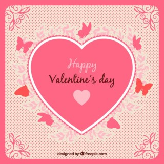 Valentines Card with Decorative Heart Free Vector