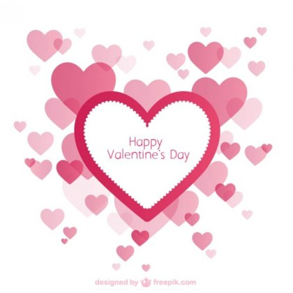 Valentines Card with Hearts Free Vector