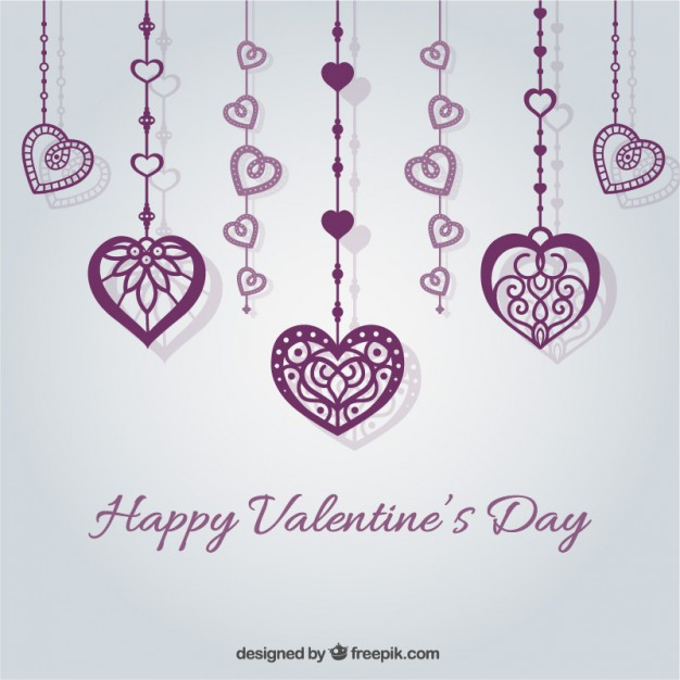 Valentines Card with Purple Hearts Free Vector