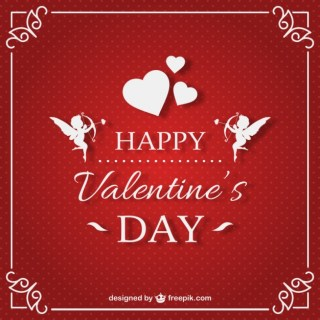 Valentines Card with Red Background Free Vector