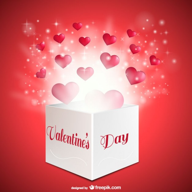 Valentines Day Box with Hearts Free Vector