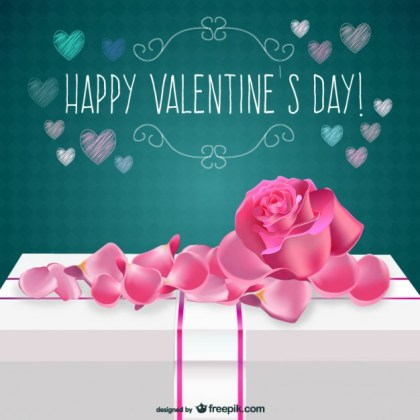 Valentines Day Card with Rose Free Vector