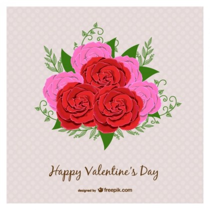 Valentines Day Card with Roses Free Vector