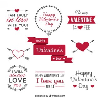 Valentines Day Label Pack Free Vector