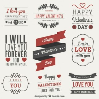 Valentines Day Label Set Free Vector