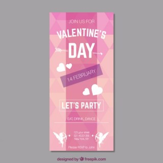 Valentines Day Party Poster Free Vector