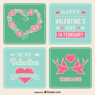 Valentines Day Stickers Free Vector