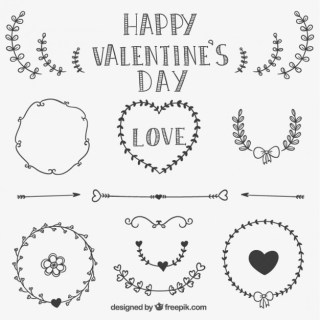 Valentines Drawn Ornaments and Frames Free Vector